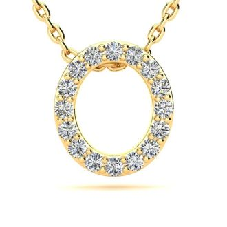 Diamond Initial Necklace, Letter O In Block Style, 14 Karat Yellow Gold