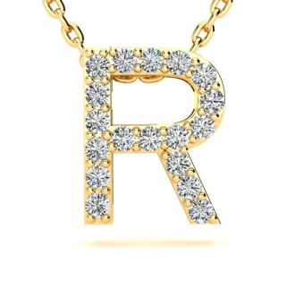 Diamond Initial Necklace, Letter R In Block Style, 14 Karat Yellow Gold