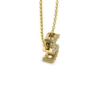 Diamond Initial Necklace, Letter S In Block Style, 14 Karat Yellow Gold