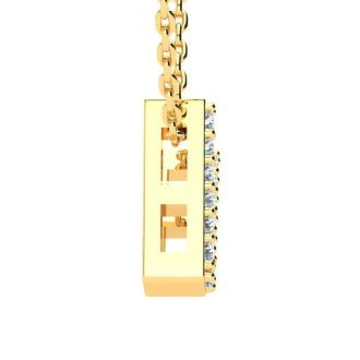 Letter V Diamond Initial Necklace In 14K Yellow Gold With 13 Diamonds