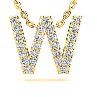 Letter W Diamond Initial Necklace In 14K Yellow Gold With 13 Diamonds