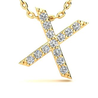 Diamond Initial Necklace, Letter X In Block Style, 14 Karat Yellow Gold