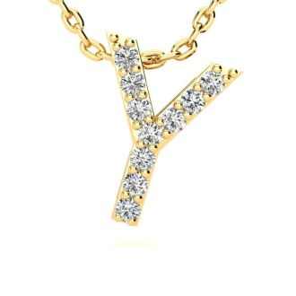 Letter Y Diamond Initial Necklace In 14K Yellow Gold With 13 Diamonds
