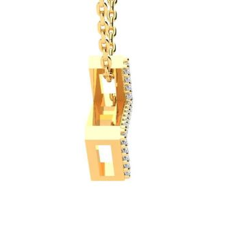 Letter Z Diamond Initial Necklace In 14K Yellow Gold With 13 Diamonds