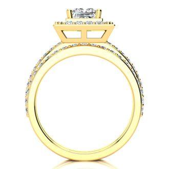 2 Carat Princess Cut Halo Diamond Bridal Set in 14k Yellow Gold