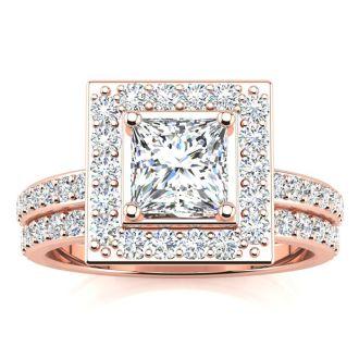 2 Carat Princess Cut Halo Diamond Bridal Set in 14k Rose Gold