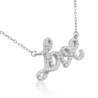 68 Fine Colorless Natural Diamond Love Necklace, Sterling Silver, 18 Inches. 1/2 Carat!