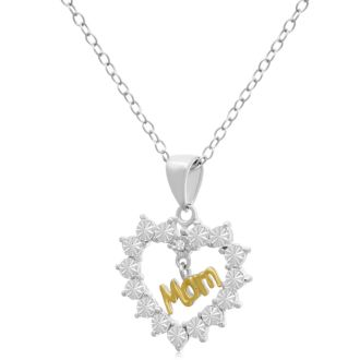 Two-Tone Mom Diamond Heart Necklace In Sterling Silver, 18 Inches