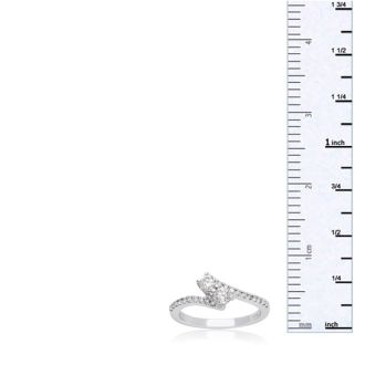 1/2 Carat Two Stone Diamond Bonded Love Ring In White Gold