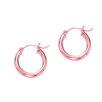 14 Karat Rose Gold Polish Finished 15mm Hoop Earrings With Hinge With Notched Closure