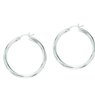 14 Karat White Gold Polish Finished 40mm Hoop Earrings With Hinge With Notched Closure