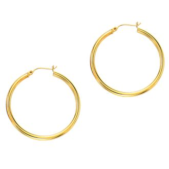 14 Karat Yellow Gold Polish Finished 40mm Hoop Earrings With Hinge With Notched Closure