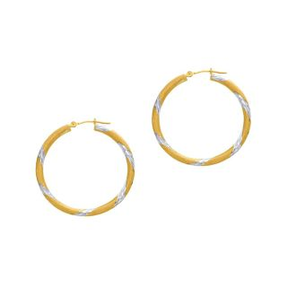 14 Karat Yellow and White Gold Polish Finished 30mm Diamond Cut Hoop Earrings With Hinge With Notched Closure