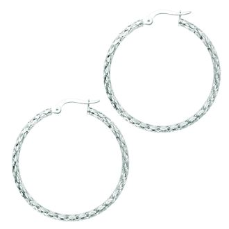 14 Karat White Gold Polish Finished 27mm Etched Hoop Earrings With Hinge With Notched Closure