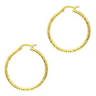 14 Karat Yellow Gold Polish Finished 25mm Etched Hoop Earrings With Hinge With Notched Closure