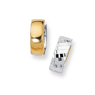 14 Karat Yellow and White Gold Polish Finished 15mm Checkered Snuggie Hoop Earrings With Hidden Snap Backs