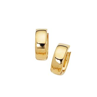 14 Karat Yellow Gold Polish Finished 15mm Snuggie Hoop Earrings With Hidden Snap Backs