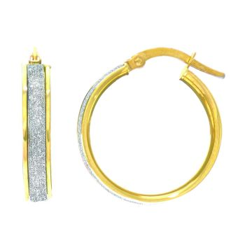 14 Karat Yellow Gold Polish Finished 16mm Laser Finished Glitter Hoop Earrings With Hinge With Notched Closure