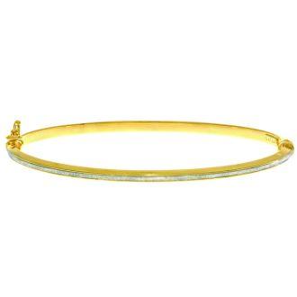 """14 Karat Yellow Gold Polish Finished 2.92mm Laser Finished Glitter Bangle Bracelet With Box Tongue and Safety Closure, 7 1/4"""""""