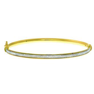 """14 Karat Yellow Gold Polish Finished 3.82mm Laser Finished Glitter Bangle Bracelet With Box Tongue and Safety Closure, 7 1/4"""""""
