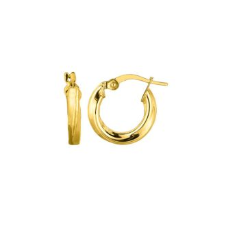 14 Karat White Gold Polish Finished 20mm Grooved Hoop Earrings With Hidden Snap Backs