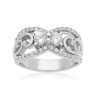 1 Carat Two Stone Diamond Antique Inspired Ring In 14K White Gold