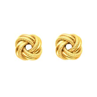 14 Karat Yellow Gold Polish Finished 9mm Textured Love Knot Stud Earrings With Friction Backs