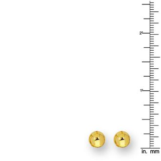14 Karat Yellow Gold Polish Finished 7mm Ball Stud Earrings With Friction Backs