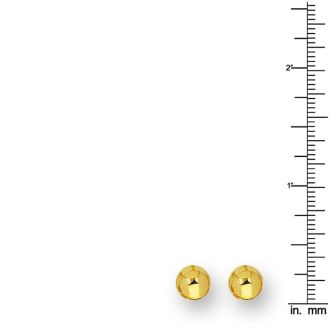 14 Karat Yellow Gold Polish Finished 8mm Ball Stud Earrings With Friction Backs