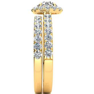 1 1/2 Carat Pave Halo Diamond Bridal Set in 14k Yellow Gold