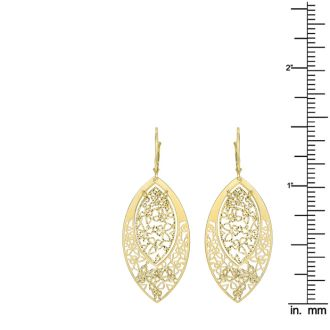 14 Karat Yellow Gold Polish Finished Butterfly Marquise Dangle Earrings With Fishhook Backs, 1 1/2 Inches