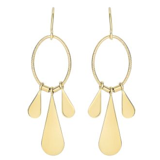 14 Karat Yellow Gold Polish Finished Triple Teardrop Dangle Earrings With Fishhook backs, 1 1/2 Inches