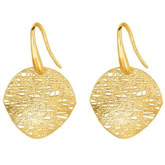 14 Karat White Gold 17x17mm Mesh Disc Earrings With Fishhook Backs