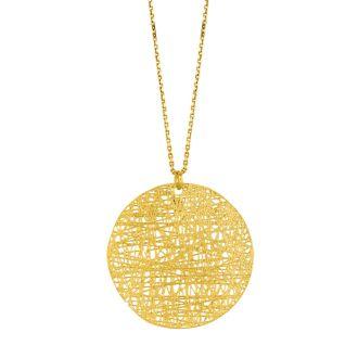 14 Karat Yellow Gold 30mm Circle Mesh Necklace, 18 Inches