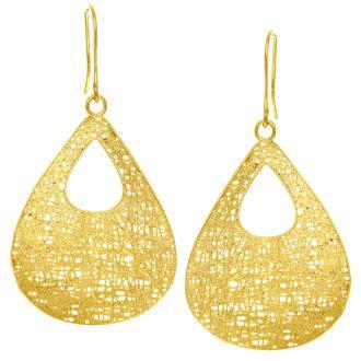 14 Karat Yellow Gold Hollow Pear Shaped 38x25mm Mesh Drop Earrings With Fishhook Backs