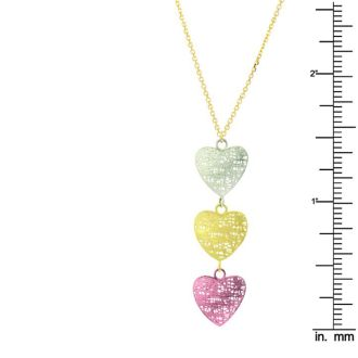 14 Karat Yellow, White and Rose Gold 38x12mm Mesh Triple Heart Shaped Necklace, 18 Inches