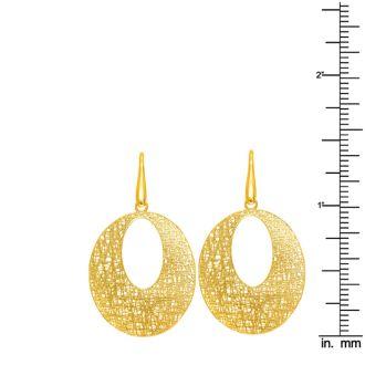 14 Karat Yellow Gold 24x24mm Textured Dangle Earrings With Fishhook Backs