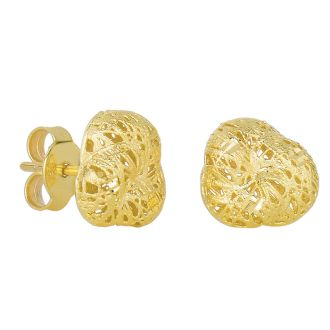 14 Karat Yellow Gold 12x12mm Mesh Stud Earrings With Friction Backs