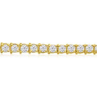 13 Carat Diamond Tennis Bracelet In 14 Karat Yellow Gold, 8 Inches