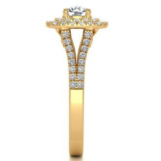 1 Carat Double Halo Diamond Engagement Ring in 14 Karat Yellow Gold
