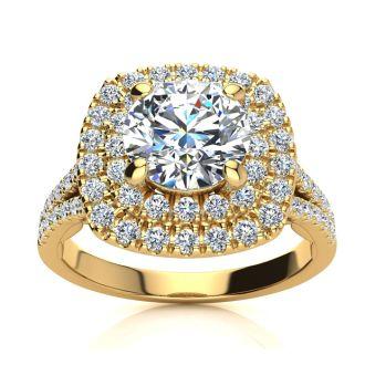 1 1/4 Carat Double Halo Diamond Engagement Ring in 14 Karat Yellow Gold