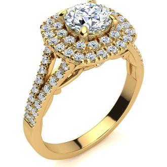 1 1/2 Carat Double Halo Diamond Engagement Ring in 14 Karat Yellow Gold