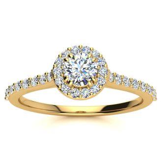1/2 Carat Perfect Halo Diamond Engagement Ring In 14 Karat Yellow Gold
