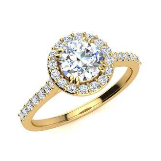 1 Carat Round Halo Diamond Engagement Ring in 14K Yellow Gold. Very Popular, Super Beautiful, Classically Elegant