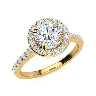 1.25 Carat Perfect Halo Diamond Engagement Ring In 14K 14 Karat Yellow Gold