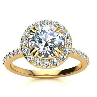 2.00 Carat Perfect Halo Diamond Engagement Ring In 14K 14 Karat Yellow Gold