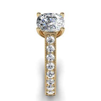 1 1/2 Carat Diamond Engagement Ring With 1 Carat Cushion Cut Center Diamond In 14K Yellow Gold