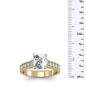 2 Carat Diamond Engagement Ring With 1 1/2 Carat Cushion Cut Center Diamond In 14K Yellow Gold