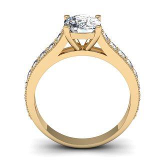 2 1/2 Carat Diamond Engagement Ring With 2 Carat Cushion Cut Center Diamond In 14K Yellow Gold