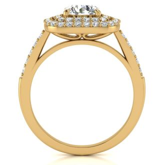 1 1/2 Carat Double Halo Diamond Engagement Ring in 14k Yellow Gold